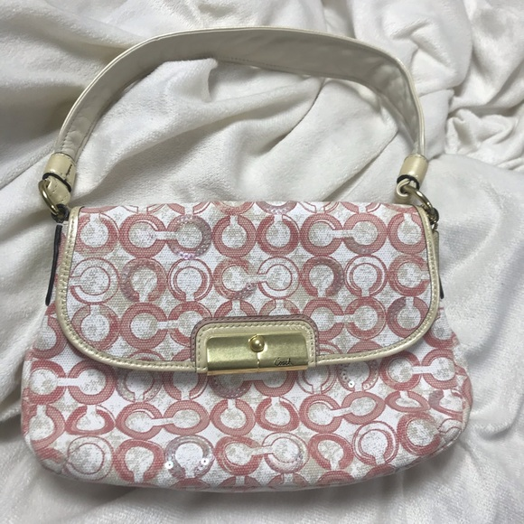 Coach Handbags - Pink and White Coach Hobo with Sequins
